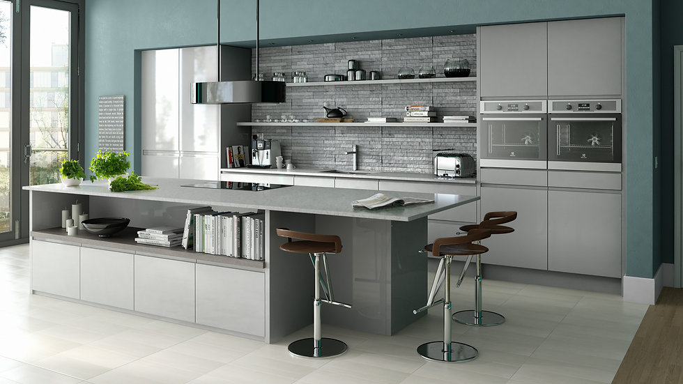 Mackintosh Intergral Gloss Grey Kitchen By Kuche & Bagno