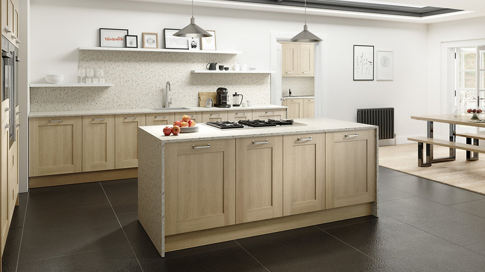 Chippendale Sand Oak Wood Shaker Kitchen By Kuche & Bagno