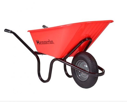 Heavy Duty HDPE Wheelbarrow 120L Pneumatic Tyre Crusader Red
