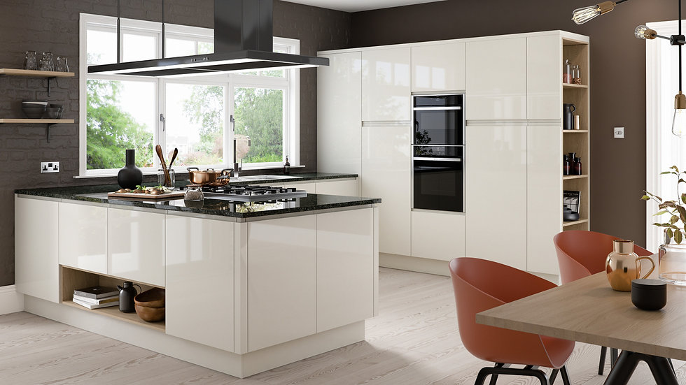 Chippendale Solo Gloss Limestone Kitchen