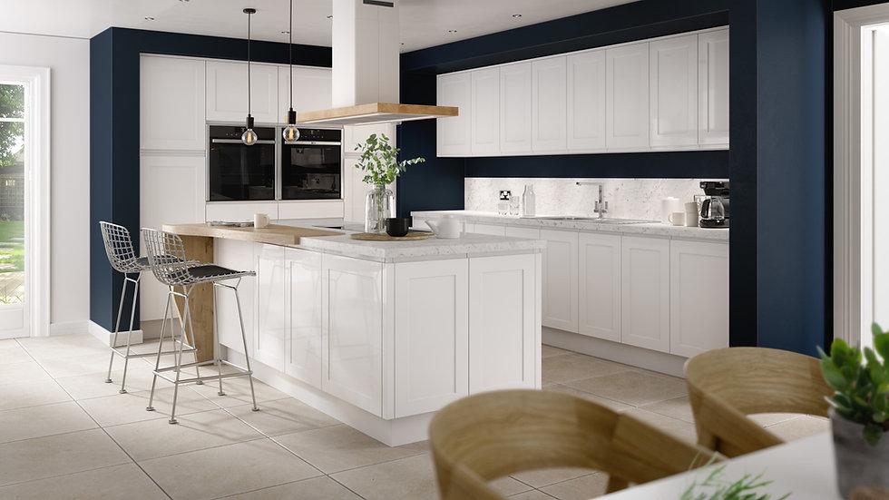 Chippendale Solo Shaker Gloss White Kitchen By Kuche & Bagno