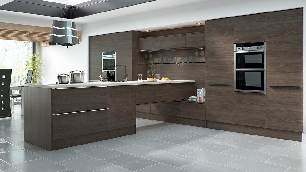 Mackintosh Linear Brown Grey Avola Kitchen By Kuche & Bagno