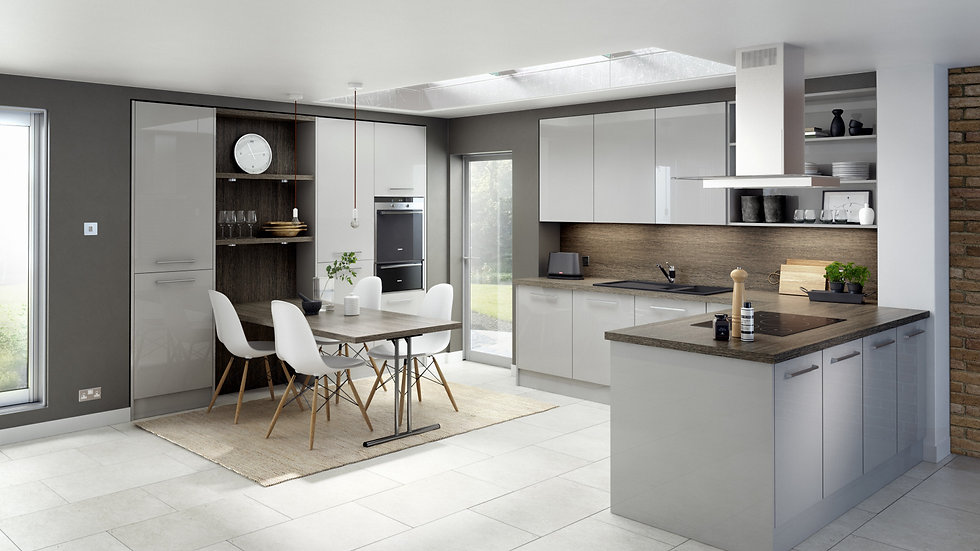 Chippendale Technica Gloss Light Grey Kitchen By Kuche & Bagno