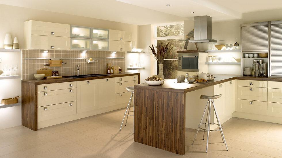 Chippendale Shaker Gloss Stone Kitchen By Kuche & Bagno