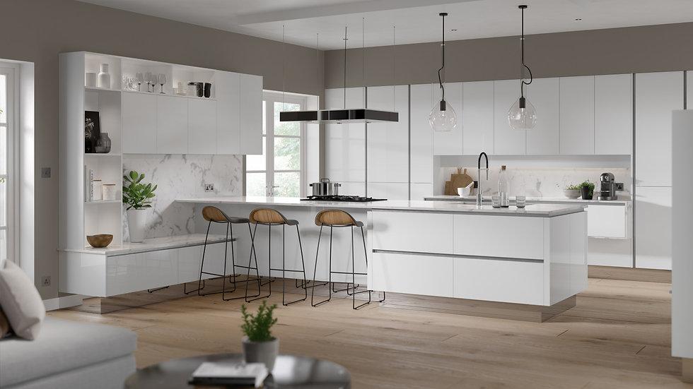 Mackintosh Oblique Gloss White Kitchen By Kuche & Bagno
