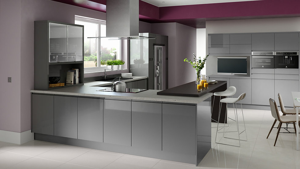 Chippendale Solo Gloss Grey Kitchen By Kuche & Bagno