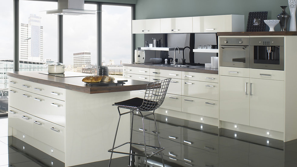 Chippendale Technica Gloss Ivory Kitchen By Kuche & Bagno