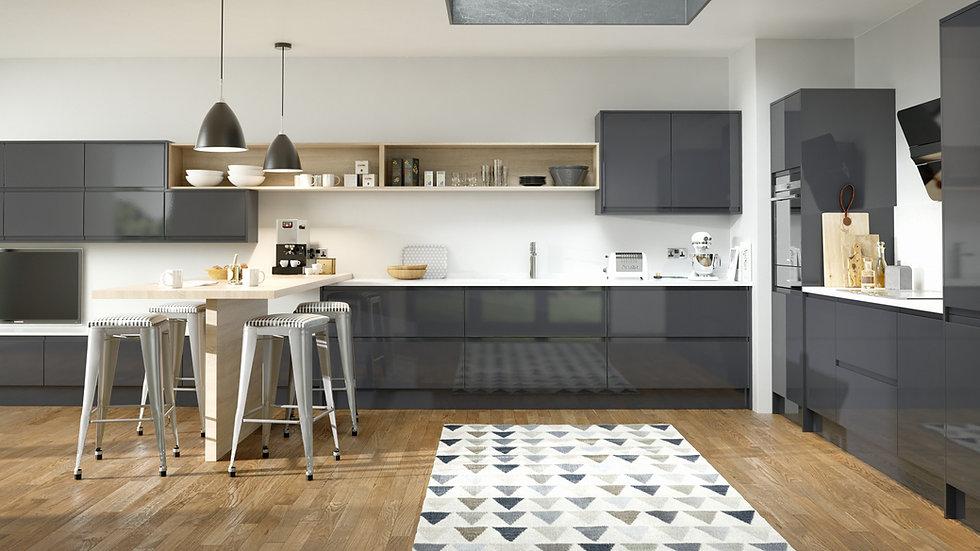 Mackintosh Integral Gloss Anthracite Kitchen By Kuche & Bagno