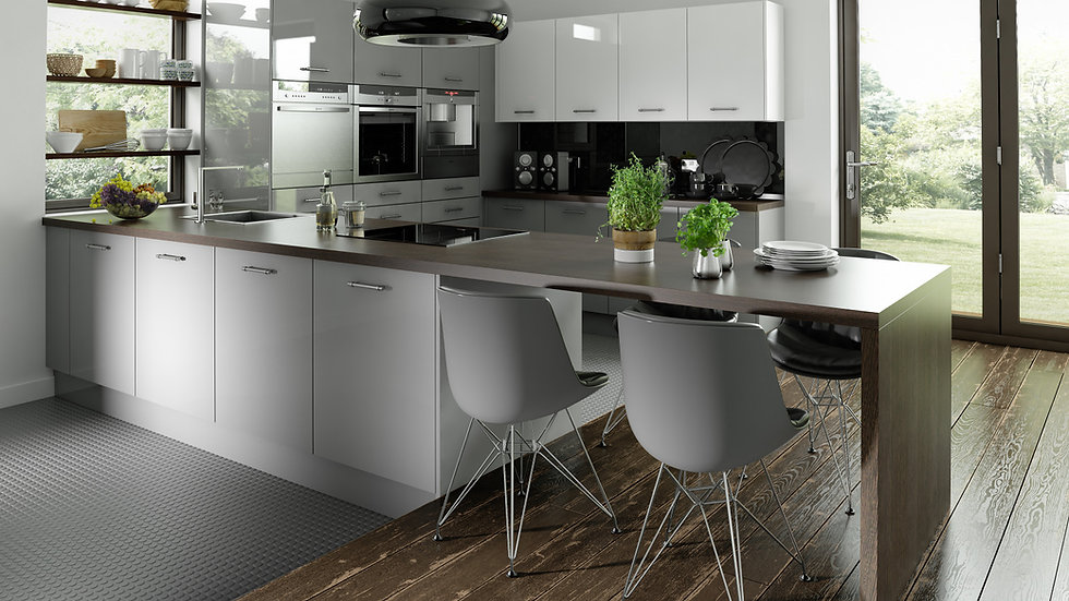 Chippendale Technica Gloss Grey Kitchen By Kuche & Bagno