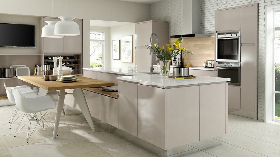 Chippendale Solo Gloss Cashmere Kitchen By Kuche & Bagno