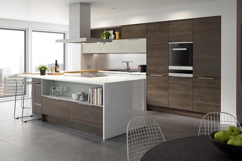 Mackintosh Linear Gladstone Oak Kitchen By Kuche & Bagno