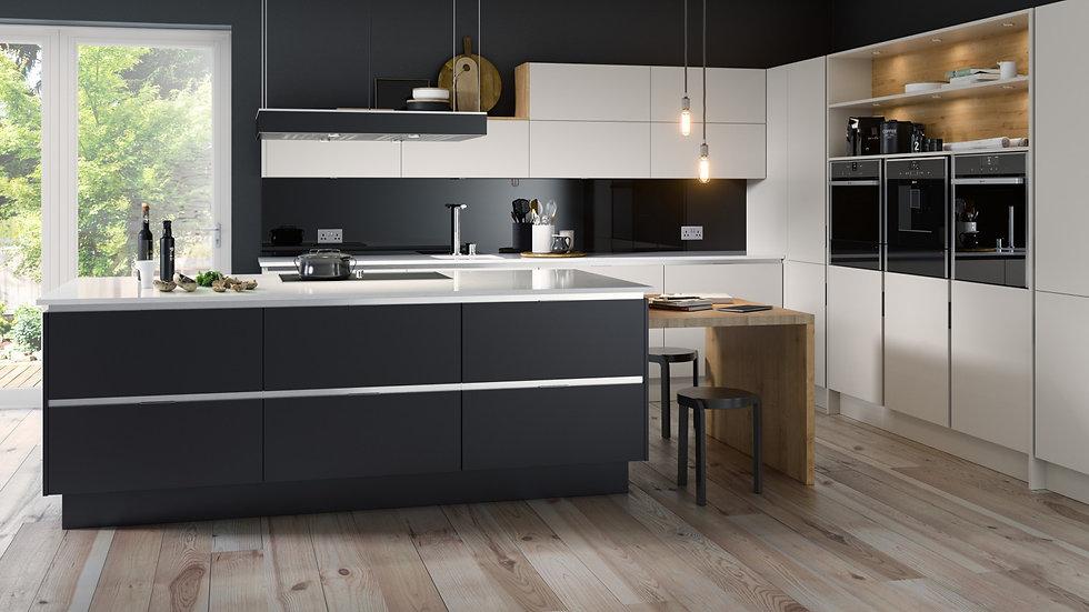 Mackintosh Inset Linear Anthracite & Limestone Kitchen By Kuche & Bagno