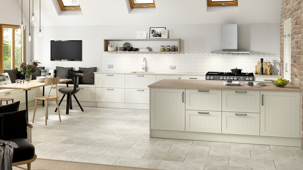 Chippendale Grooved Ivory Kitchen By Kuche & Bagno