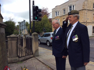 Wreath laying, Green Howards War Memorial Richmond on Sunday 16-05-2021 Pete Curtis and Eddie Conway