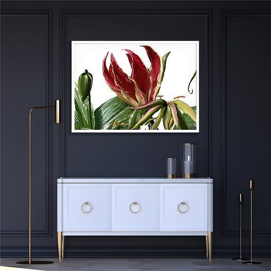Orchid digital drawing - horizontal poster. Unframed print.