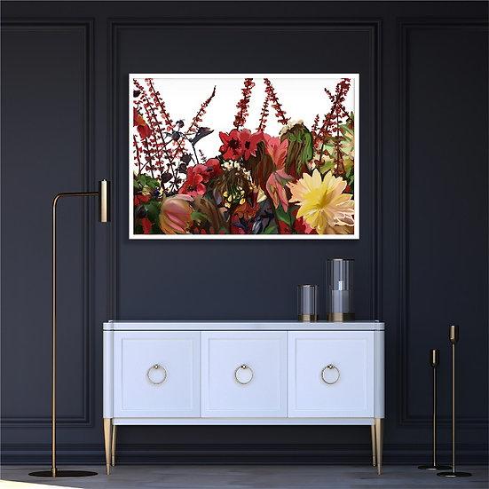 Flowers in the garden, digital drawing. Unframed print.