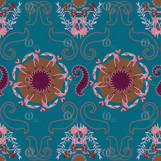 Digital geometric flowers paisley, pattern no.0201 &0202