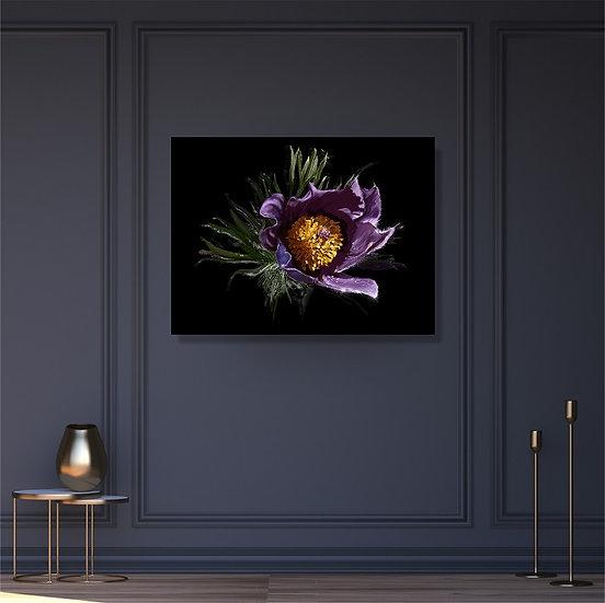 Violet snowdrop digital drawing - horizontal poster. Unframed print.