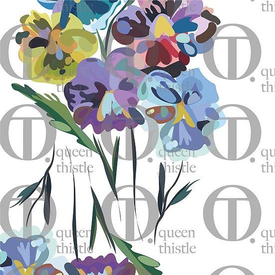Pansies flowers, white background no 22 & 23 DIGITAL PATTERN