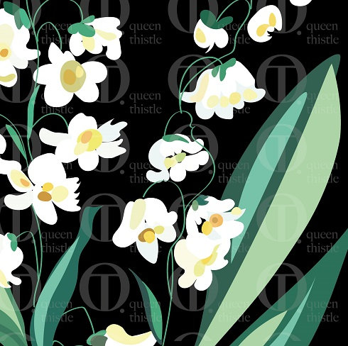 Lilies of the valley pattern, blue background. DIGITAL PATTERN.