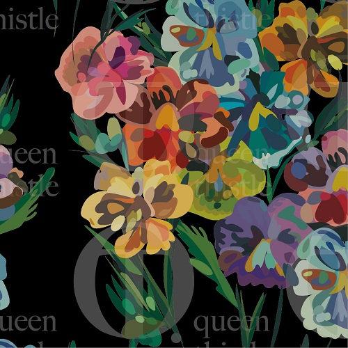 Pansies flowers no.24 & 25 , black background.  DIGITAL PATTERN