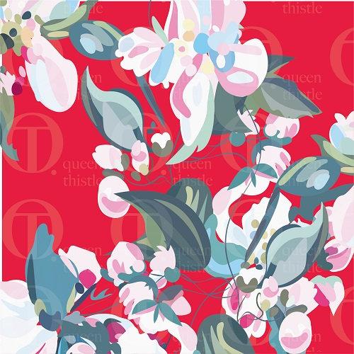 Apple blossom, red background no 014 & 015  DIGITAL PATTERN.