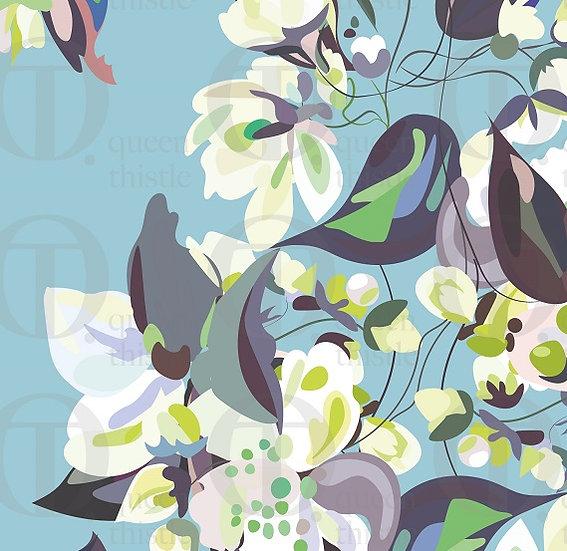 Apple blossom, blue background no 16 & 17 DIGITAL PATTERN.