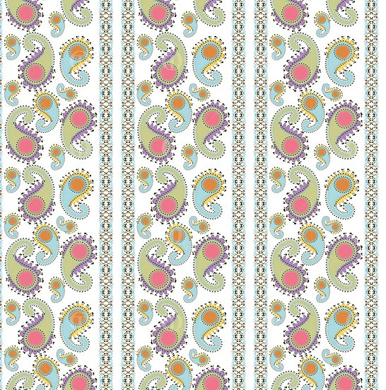 Digital geometric flowers paisley, pattern no.0209 &0210