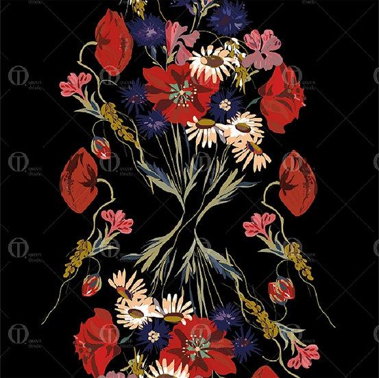 Bouquet of wildflowers  no.02001_02002 Digital pattern.