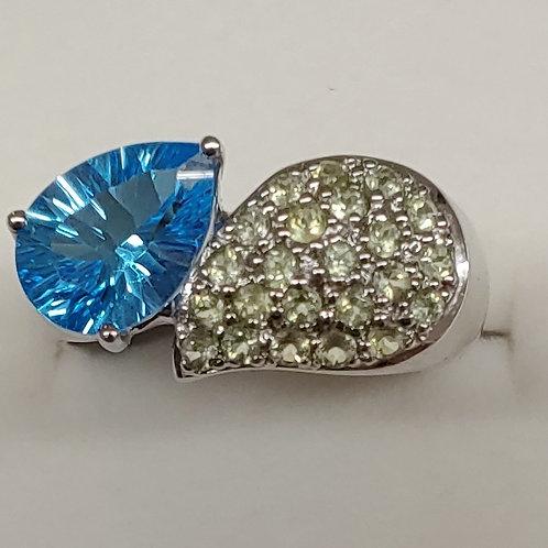 2.45 ct. Swiss Blue Topaz Ring 14K w/g
