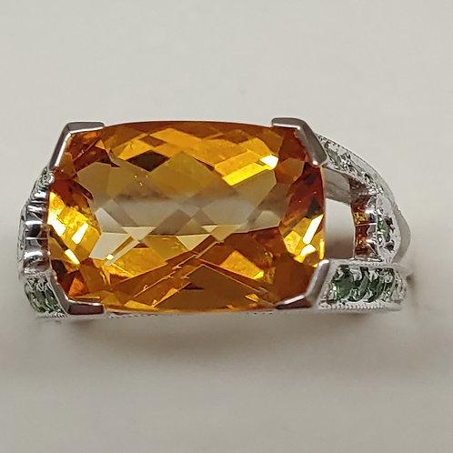 5.5 ct. Citrine, Tsavorite & Diamond Ring 18K y/g