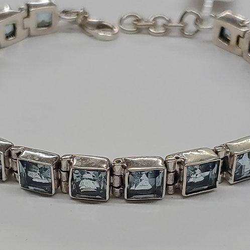 6 mm Square Gemstone Bracelet in S. S.