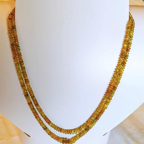 Chrysoberyl Catseye double strand roundel beaded necklace.