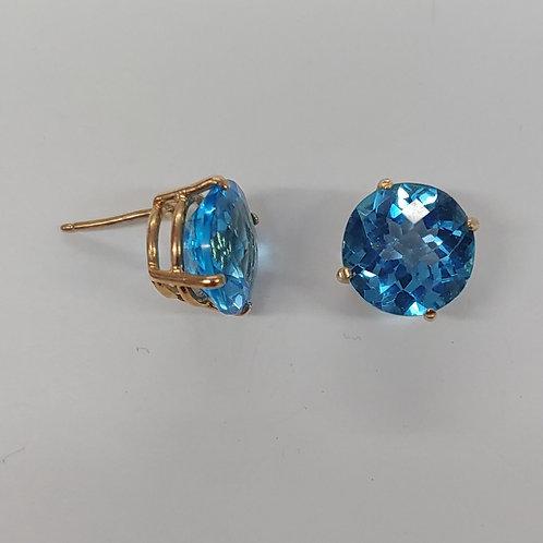 10mm Swiss Blue Topaz Earrings