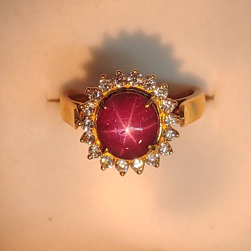 Natural Star Ruby & Diamond ring 14K y/g