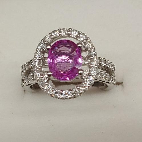 1.89 ct. Pink Sapphire Ring 18K w/g