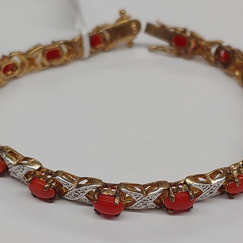 6x4 mm Oval  Gemstone & Diamond Bracelet in Vermeil