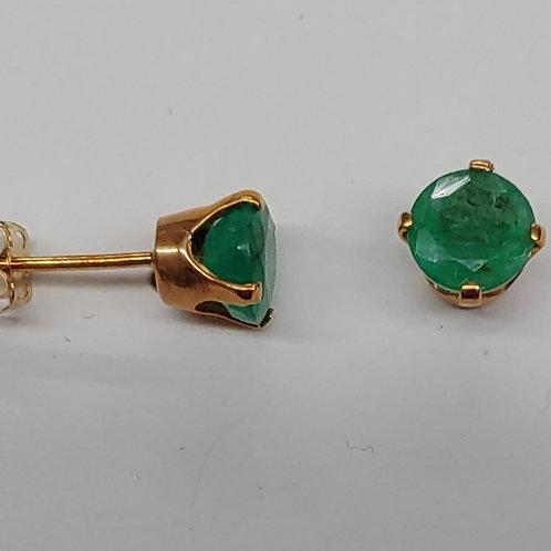 6mm Round Columbian Emerald Earrings