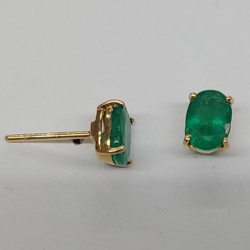 7x5 Oval Columbian Emerald Earrings