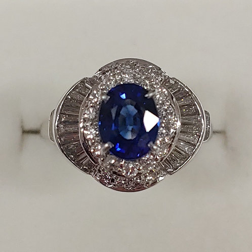 1.33 ct. Blue Sapphire & Diamond Ring Platinum