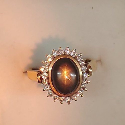 5.5 ct. Natural Black Star Sapphire & Diamond ring 14K y/g