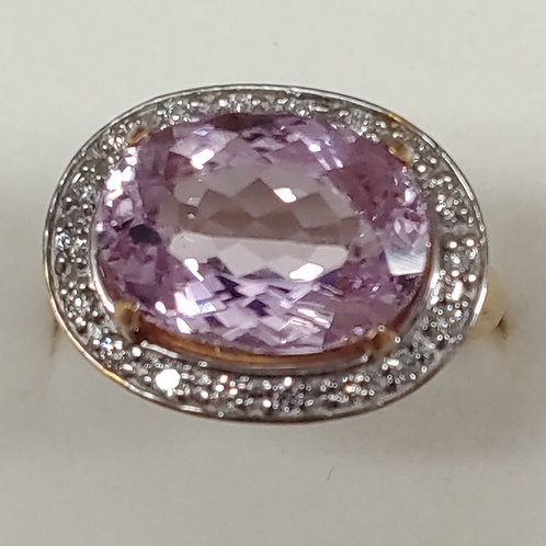8.20 ct. Kunzite & Diamond Ring 14K y/g
