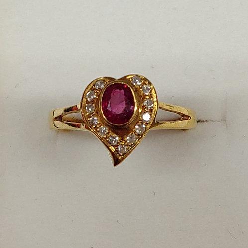0.50 ct. Ruby &  Diamond Ring 14K y/g