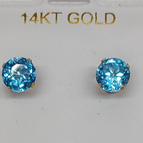 6 mm Stud Earrings in 14K y/g (Pair)