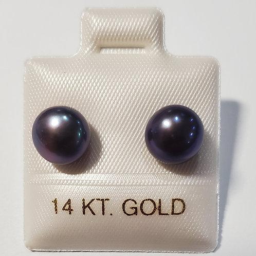 Black Pearl Earrings 14K