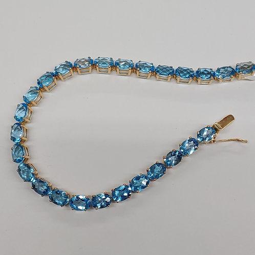 7x5 Oval Swiss Blue Topaz Bracelet