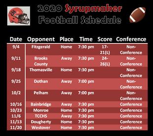 (Updated) 2020 Football Schedule