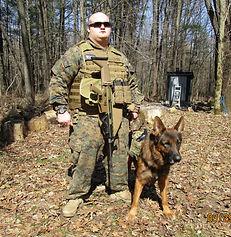 Cary patrols with Zeus.JPG