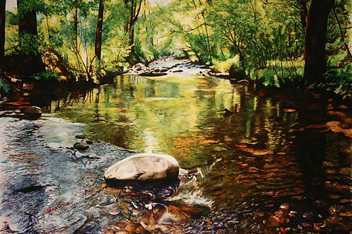 """44"""" x 80"""" Watercolor on heavy paper, Titled """"Rooted on the Rock""""."""