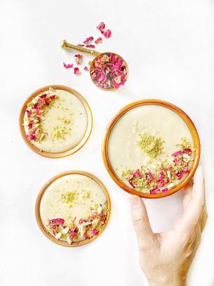 Coconut Rose Rabri (Cream Pudding)